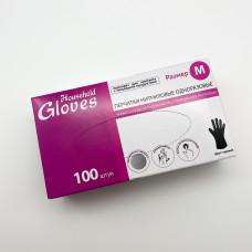 Перчатки нитриловые текстурированные на пальцах Household Gloves черные 4гр (M-100шт/уп)