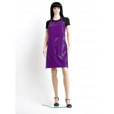 Professional Style Фартук классической формы, из лаковой ткани, водонепроницаемый, ширина 65 см. длина 80 см, фиолетовый