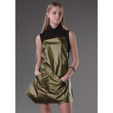 Фартук асимметричной формы из оригинальной ткани, водонепроницаемый, ширина 53 см. длина 70 см, M/L золотистый