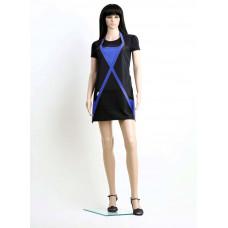 Фартук короткий классической формы из матовой ткани, водонепроницаемый, ширина 60 см. длина 66 см,синий/черный