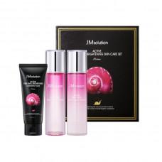 JMsolution Набор для ухода за лицом с муцином улитки Active Pink Snail Brightening 3set