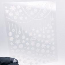 ZOO Nail Art Наклейки снежинки белые